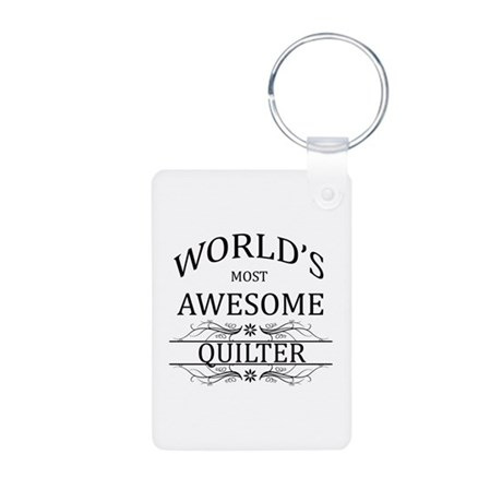 World's Most Awesome Quilter Aluminum Photo Keycha