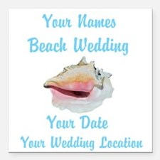 "Custom Beach Wedding Square Car Magnet 3"" x 3"""