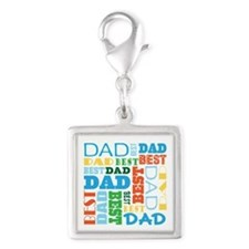 Best Dad Gift Silver Square Charm
