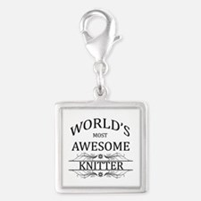 World's Most Awesome Knitter Silver Square Charm