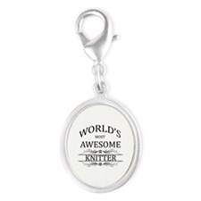 World's Most Awesome Knitter Silver Oval Charm