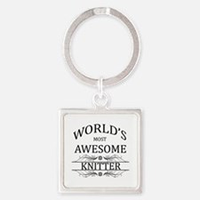 World's Most Awesome Knitter Square Keychain