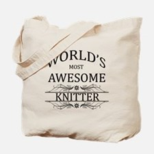 World's Most Awesome Knitter Tote Bag