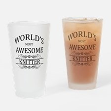World's Most Awesome Knitter Drinking Glass
