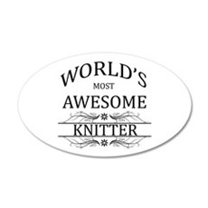 World's Most Awesome Knitter 20x12 Oval Wall Decal