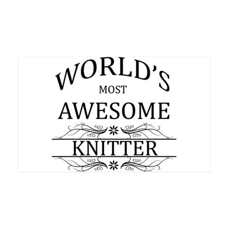 World's Most Awesome Knitter 35x21 Wall Decal