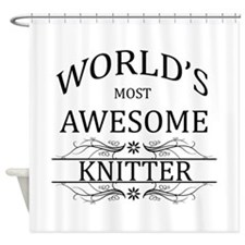 World's Most Awesome Knitter Shower Curtain