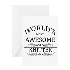 World's Most Awesome Knitter Greeting Card