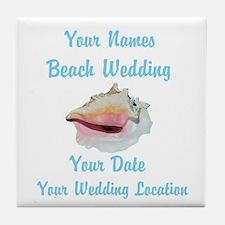 Custom Beach Wedding Tile Coaster