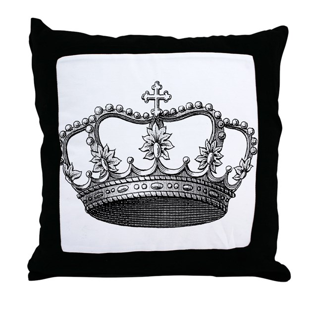 vintage crown Throw Pillow by AlabamaGulfCoast