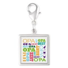 Best Opa Gift Silver Square Charm