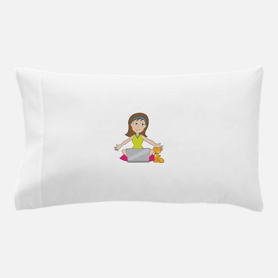 Happy Laptop Lady Pillow Case