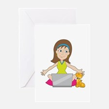 Happy Laptop Lady Greeting Card