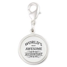 World's Most Awesome Accountant Silver Round Charm
