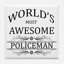 World's Most Awesome Policeman Tile Coaster
