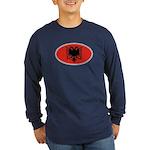 Albanian Oval Flag Long Sleeve Dark T-Shirt