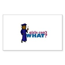 Graduate Girl in Blue Gown Decal