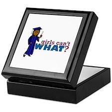 Graduate Girl in Blue Gown Keepsake Box