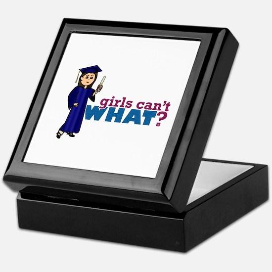 Girl Graduation in Blue Gown Keepsake Box