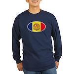 Andorran Oval Flag Long Sleeve Dark T-Shirt