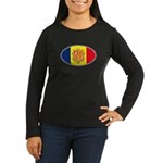 Andorran Oval Flag Women's Long Sleeve Dark T-Shir