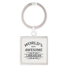 World's Most Awesome Librarian Square Keychain