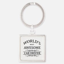 World's Most Awesome Cab Driver Square Keychain