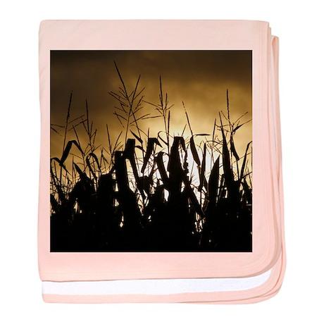 Corn field silhouettes baby blanket