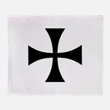 Black iron templar cross Throw Blanket