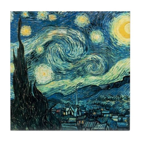 Starry Night Vincent Van Gogh Tile Coaster