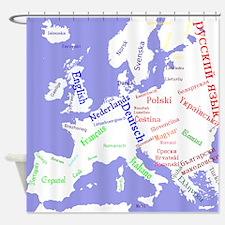European Languages Shower Curtain