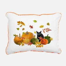 Black Cat Pumpkins Rectangular Canvas Pillow