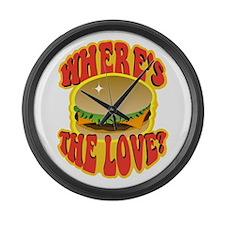 Wheres the Love? Cheeseburger Large Wall Clock