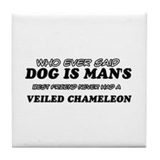 Veiled Chamileon lovers designs Tile Coaster