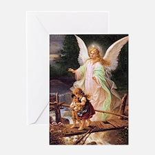 Guardian Angel with Children on Bridge Greeting Ca