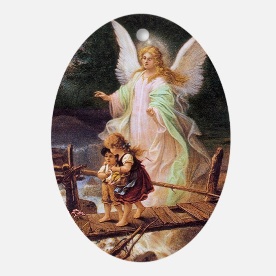 Guardian Angel with Children on Bridge Ornament (O