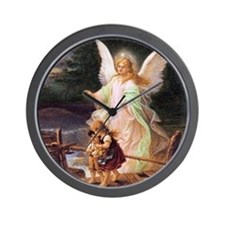 Guardian Angel with Children on Bridge Wall Clock
