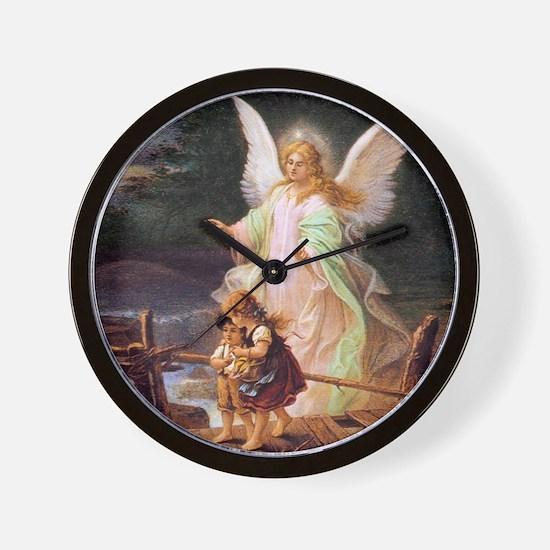 Guardian Angel with Children on Bridge Wall Clock