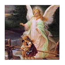 Guardian Angel with Children on Bridge Tile Coaste