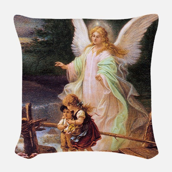 Guardian Angel with Children on Bridge Woven Throw