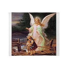Guardian Angel with Children on Bridge Throw Blank