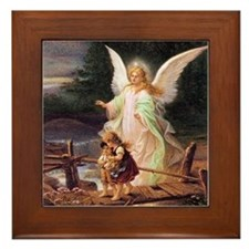 Guardian Angel with Children on Bridge Framed Tile