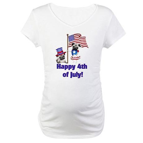 Pug 4th of July Maternity T-Shirt