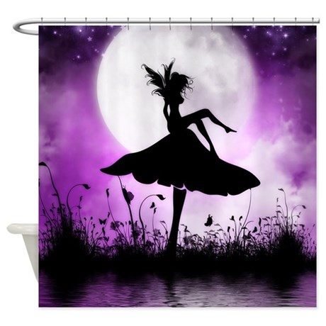 Enchanted-Silhouette-Fairy-Purple Shower Curtain