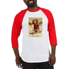 Santa on Skis Vintage Christm Baseball Jersey