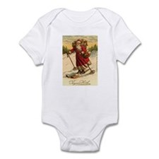 Santa on Skis Vintage Christm Infant Bodysuit