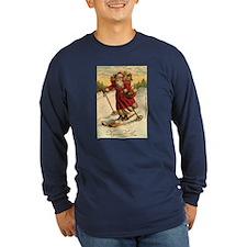 Santa on Skis Vintage Christm T