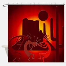 Kokopellis in the Southwest Red Shower Curtain