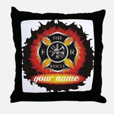 Personalized Fire and Rescue Throw Pillow