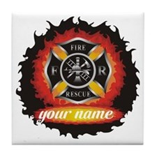 Personalized Fire and Rescue Tile Coaster